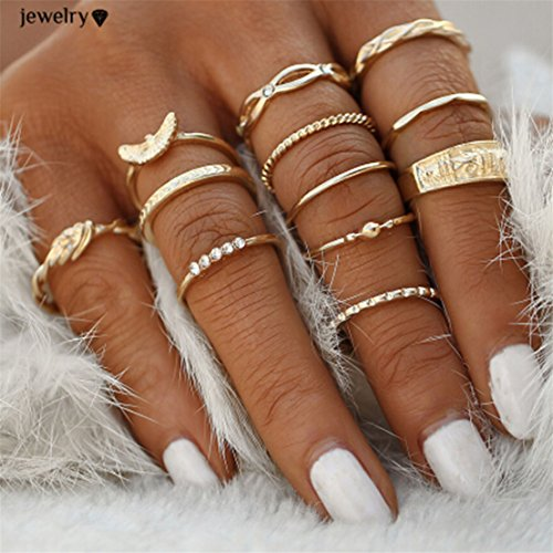 UNKE 12pcs/Set Women Retro Arrow Gold Plated Nail Ring Above Knuckle Rings Set