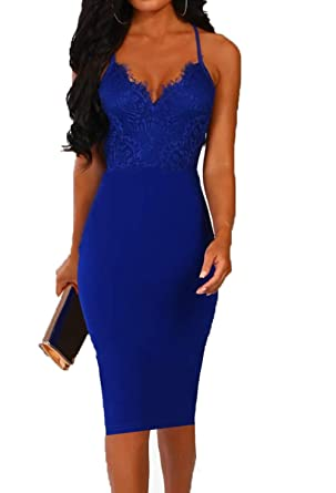 94a868d21fa Allimy Women Elegant V Neck Bodycon Midi Dresses Party Wedding Club  Cocktail Dress Blue Small