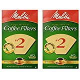 Melitta 612412 #2 Natural Brown Cone Coffee Filters 40 Count