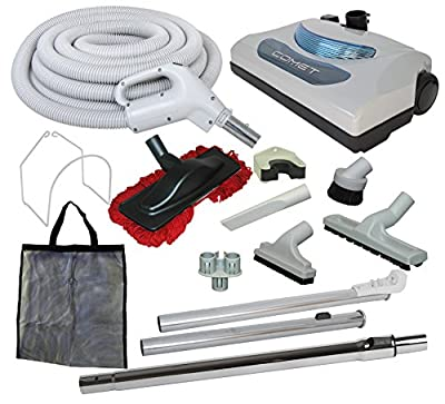 """35' """"Comet"""" Central Vacuum Kit with Hose, Power Head & Tools - Works with All Brands of Central Vacuum Units"""