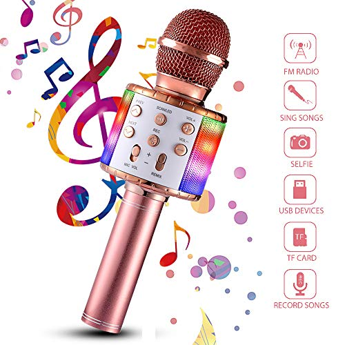 Wireless Karaoke Microphone, 4 in 1 Bluetooth Handheld Portable Speaker Home KTV Player with Dancing LED Lights Record Function for Kids Party Singing, Compatible with Android & iOS Devices