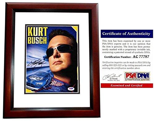 Kurt Busch Signed - Autographed Nascar Driver - #2 Miller Lite 8x10 inch Photo - MAHOGANY CUSTOM FRAME - PSA/DNA Certificate of Authenticity (COA)
