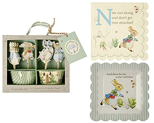 Meri Meri Peter Rabbit Cupcake Kit with Small Plates and Napkins Bundle