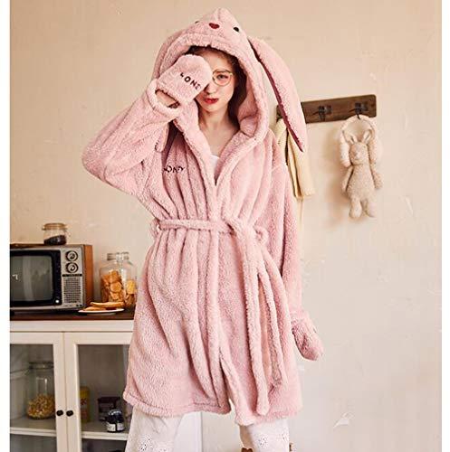 a1a4e3e07f Nightgown Ladies Winter Nightwear Pyjamas Set Sleepwear Loungewear Flannel  Coral Fleece Pink Rabbit Cartoon Thick