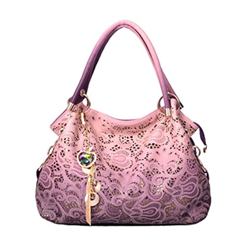 2018 women bag hollow out ombre handbag floral print shoulder bags ladies pu leather tote bag (Color Pink)