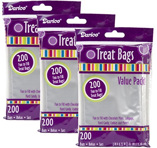 (Darice 28-001V 3-Inch-by- 4-3/4-Inch Clear Treat Bag 200-Pieces)