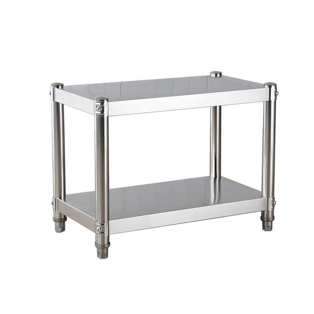Kitchen Cabinet Racks 2-Tier Stainless Steel Microwave Oven Rack with 4 Hooks Table Stand Stove Holder Storage Shelves Bracket (External Size:L60cm,80cm,100cm) (Size : 100cm)