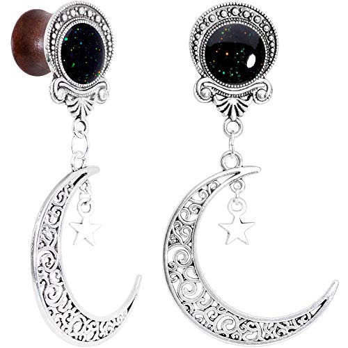 Body Candy Handcrafted Womens 2PC Beechwood Dark Crescent Moon Dangle Saddle Plug Set Ear Plug Gauges 1/2