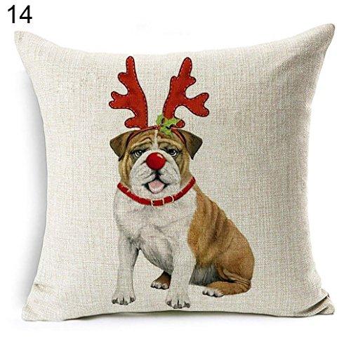 Pillow Bulldogs Santa (Acamifashion Christmas Dog Santa Claus Reindeer Cushion Cover Throw Pillow Case Home Sofa Decors (#14 Taschentucher Xmas Bulldog))