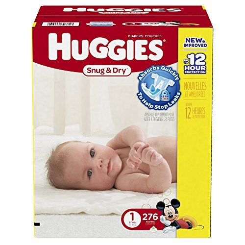 Price comparison product image Huggies Economy Plus Pack Snug and Dry Diapers,  Size 1,  276 Count by Huggies