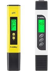 Homtiky Metro PH TDS Misuratore 4 in 1 pH Tester di qualità dell'acqua, da 0 a 14 Intervallo di misurazione del pH, 1 Risoluzione PPM 2% Precisione di lettura, Set 0-9990 PPM, per piscina, acquario