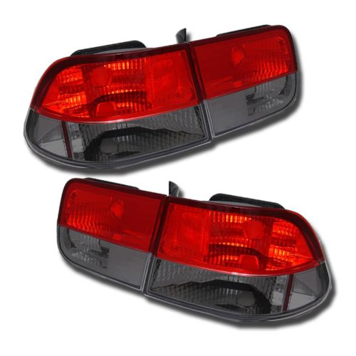 - SPPC 2 Door Taillights Red/Smoke Assembly Set For Honda Civic - (Pair) Driver Left and Passenger Right Side Replacement