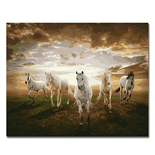 Rihe Horses Running DIY Oil Painting Paint By Number Kit-Animal Theme 16x20 Inch (Frameless) (7 Horses Running)
