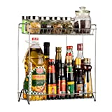 Spice Rack, YIFAN Kitchen Organiser Two Layers Spices Organizer Spice Racks Stainless Steel Kitchen Organiser Storage Kitchen Shelves Rack - Silver