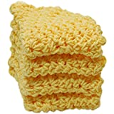 4 Yellow Crochet Round Dishcloth Set Long Lasting 100% Cotton