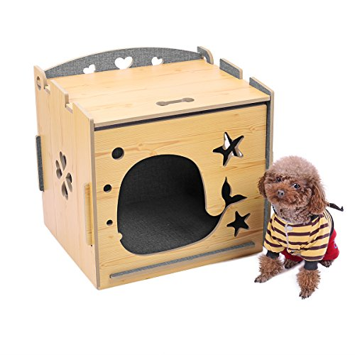 """PAWZ Road Cat House Indoor Wooden Hide Shelter Bed with Door Hollow Cutting Dog Kennel Double Colored with Roof for Cats Dogs and Small Animals 18""""x16""""x15.4"""""""