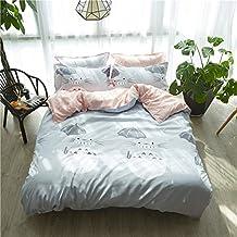 "Bed Set 4pcs Bedding Set Duvet Cover No Comforter Flat Sheet Pillowcase XS Queen 78""x 90"" for Kids Teens Totoro Cat Owl Horse Design for Kids Adults Teens Sheet Sets (Queen, Totoro Baby, Blue)"