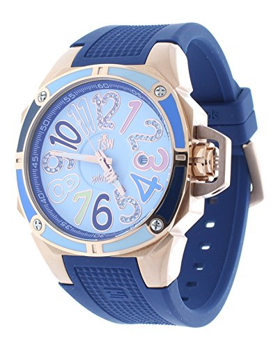 Technosport TS-200-SPLASH3 Women's Blue Watch Swarovski Multicolor Colorful Dial Markers Rose-Tone Case