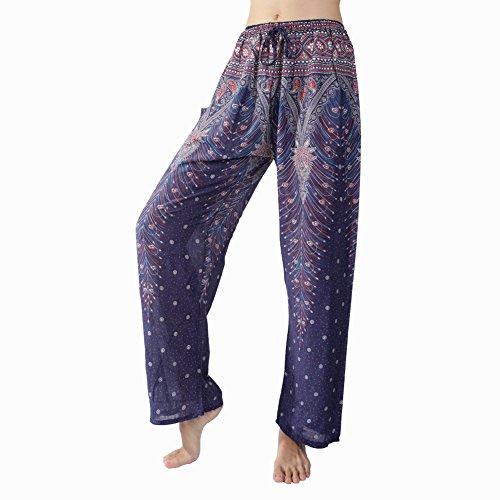 Rita & Risa Women's Boho Printed Long Loose Pajama PJ Sleep Bottoms Pants Pt Navy Blue X-Small / US (Halloween Denver Co)
