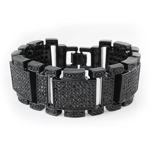 Black Diamond Fashion Bracelet (18k Black Gold Iced Out Simulated Diamond Hip Hop Mens and Womens Bracelet)