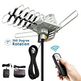 Outdoor HDTV Antenna, Vansky Amplified Digital HD Antenna 150 Mile Range w/ Motorized 360 Degree Rotation, 2 TV Support - UHF/VHF Signal and Wireless Remote Control - Longer 33FT Coax Cable