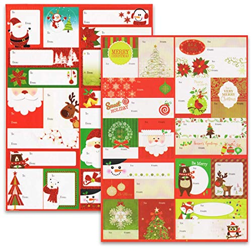 Assorted Christmas Self-Stick Gift Tag Stickers Snowflakes, Sweet Holidays Snowman Fox Bear Santa X-mas Tree, Pack of 140