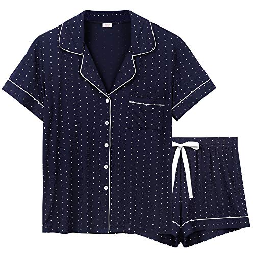 Anjue Womens Pajama Set Short Sleeve Sleepwear Button Down Pajamas Short Sets Nightwear Loungewear Soft Pj Set