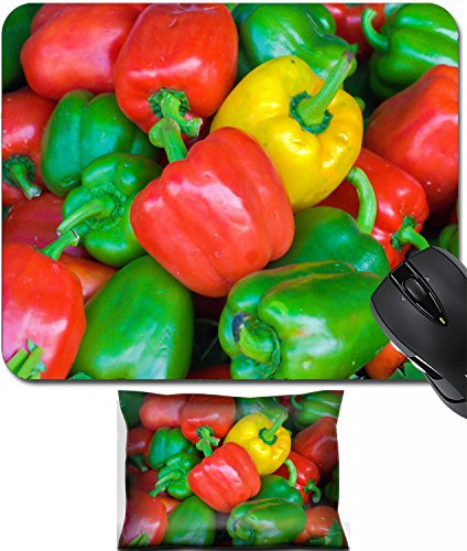 MSD Mouse Wrist Rest and Small Mousepad Set, 2pc Wrist Support design 26324031 Capsicums Bell Peppers in a (Capsicum Bell Pepper)