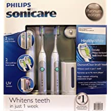 Philips Sonicare HX6733/90 2 pack combo HealthyWhite Platinum Edition Toothbrush (2 HealthyWhite handles, 2 DiamondClean brush heads, 1 UV sanitizer with integrated charger, 1 Travel charger, 2 Travel cases)