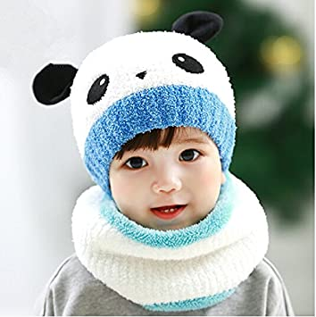 c217957361c Amazon.com  Panda hats new winter kids Hat Scarf Mitten Set handmade wool scarf  hat suit Hat Cap Earmuff Scarf Gloves Mitten Knitted Plush Hat Scarf ...