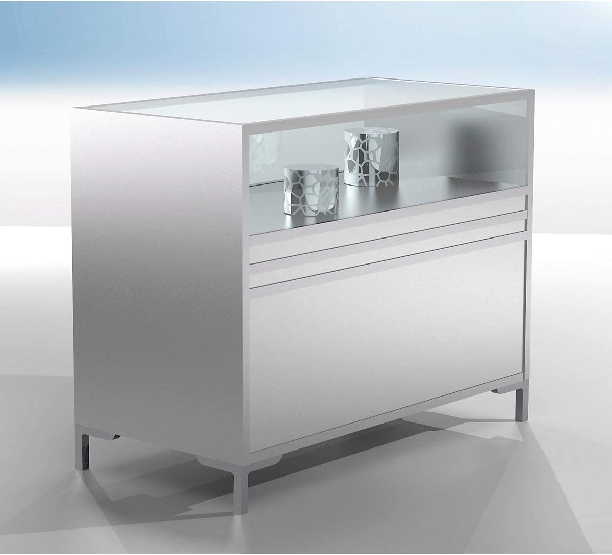 De los mostradores vitrina, la mitad de vidriado, medidas 1200 x 600 x 900 mm, perfiles de aluminio, 1 balda, puertas correderas, cilindro: Amazon.es: Bricolaje y herramientas