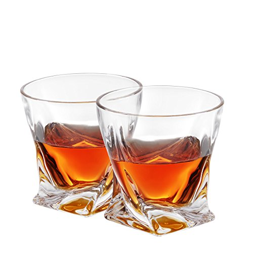 Twist Whiskey Glasses, Old Fashioned Glasses By Mivim 300mL/10.25oz- Set of 2. Lead-Free Crystal Clarity Fits Large Ice Cube, Unique, Elegant