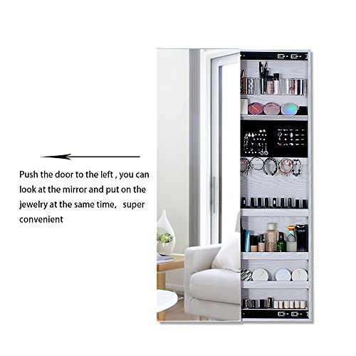 NEX Door Wall Mounted Jewelry Armoire Makeup Storage Organizer with Real Glass Mirror - White by NEX (Image #4)