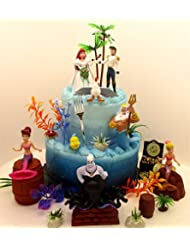 Under the Sea LITTLE MERMAID Birthday Cake Topper Set Featuring Ariel and Friends Figures with Decorative Themed Accessories