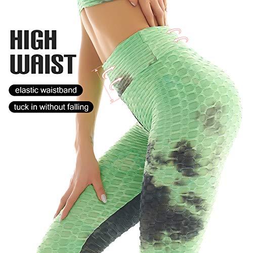 Women's Booty Yoga Pants High Waisted Leggings Butt Lift Leggings for Gym Workout Running, Green - S