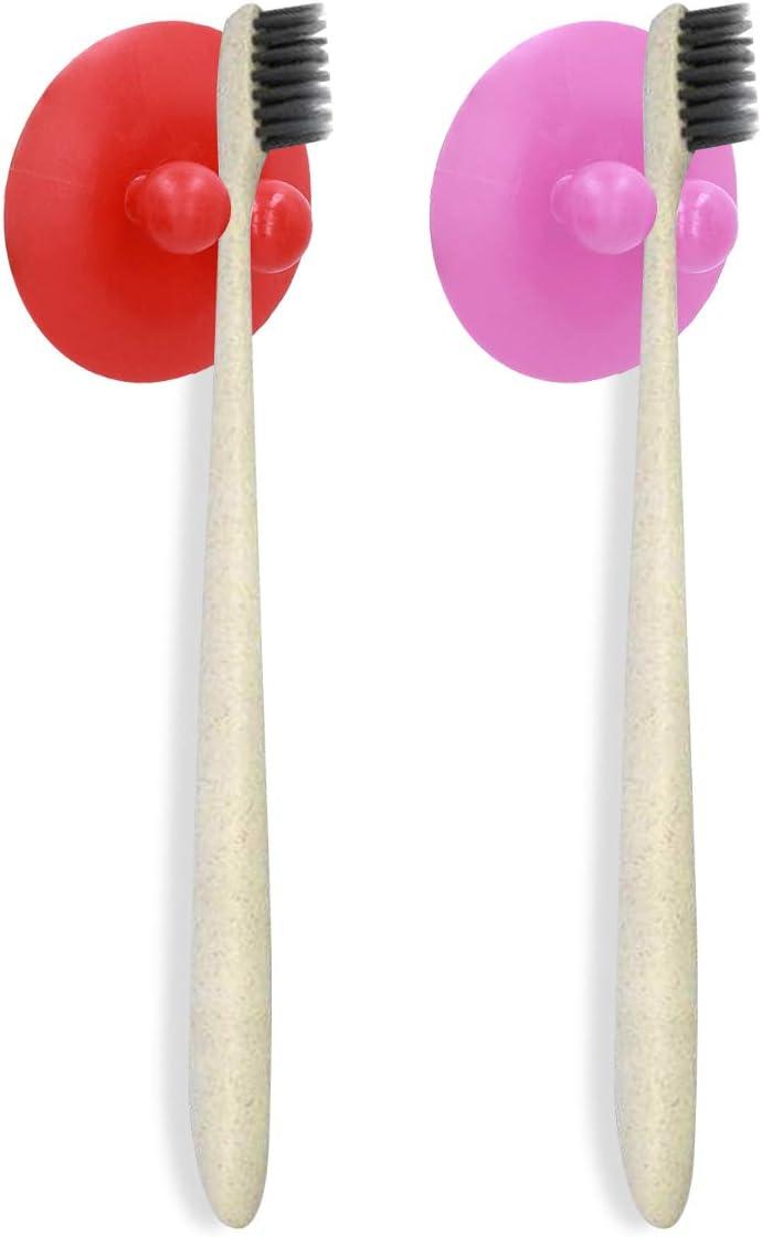 kwmobile 2X Soporte para Cepillo de Dientes con Ventosa Organizador Autoadhesivo de ba/ño para Espejo y Azulejos Rojo//Rosa Claro
