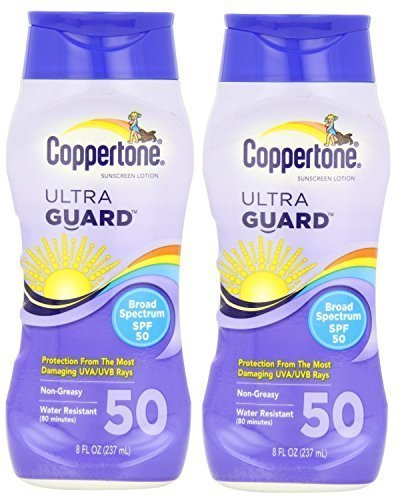 Coppertone Sunscreen Lotion Ultra Guard Broad Spectrum SPF 50, 8 fl oz (Pack of 2)