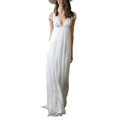 Udresses Vintage Inspired Vestidos de novia Simple Empire Waist Lace Chiffon Bridal Gowns M047