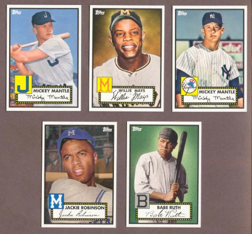 1952 Topps Mantle - 1952 Topps Retro Set W 2 Mickey Mantles Babe Ruth Jackie Robinson Willie Mays