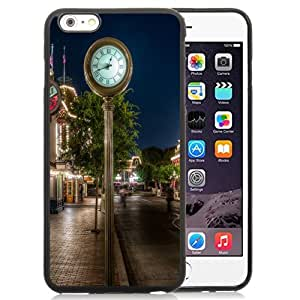 Fashionable Custom Designed iPhone 6 Plus 5.5 Inch Phone Case With Sidewalk Clock_Black Phone Case