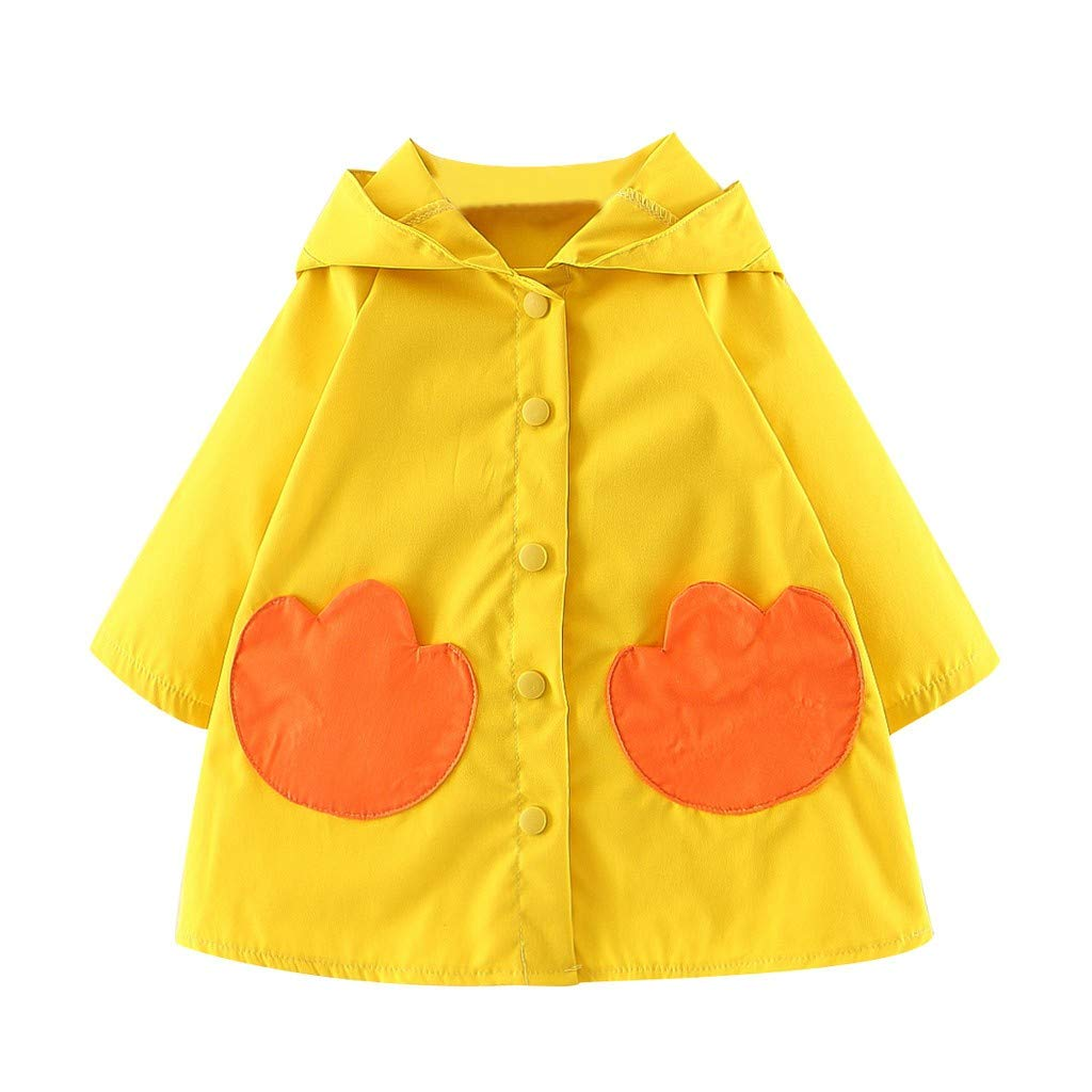 Amaone Baby Girls Little Yellow Duck Trench Coat Pocket Autumn Windbreaker Toddler Jacket Windproof Casual Kids Outwear for 6Months-3Years Old