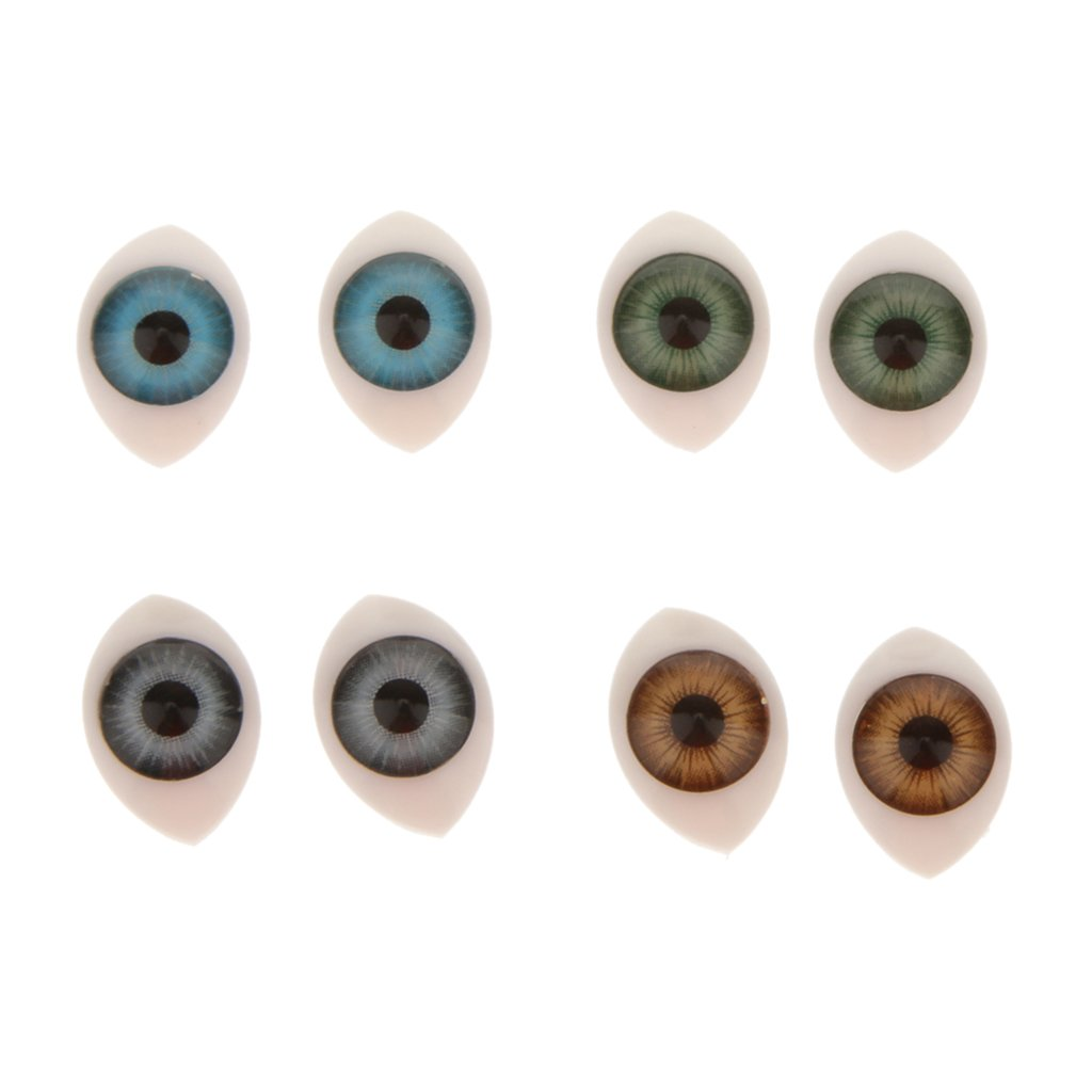 Oval Flat Back Plastic Eyes 9mm Iris for Porcelain or Reborn Dolls Making DIY Supplies Pack of 4 Pairs
