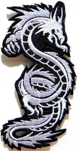 White Chinese Japanese Dragon Lucky Animal Tattoo Biker Rider Jacket Vest Patch Sew Iron on Embroidered Badge Custom By Luk99