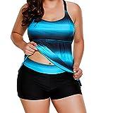 Womens Criss Cross Back Tankini Color Block Print Swimsuits Top with Boyshorts Two Piece Swimwear Bathing Suit (Blue,XXL/US 10-12)
