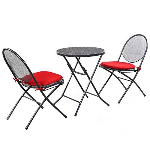 Giantex 3 PCS Folding Steel Mesh Outdoor Patio Table Chair Garden Backyard Furniture Set by Giantex