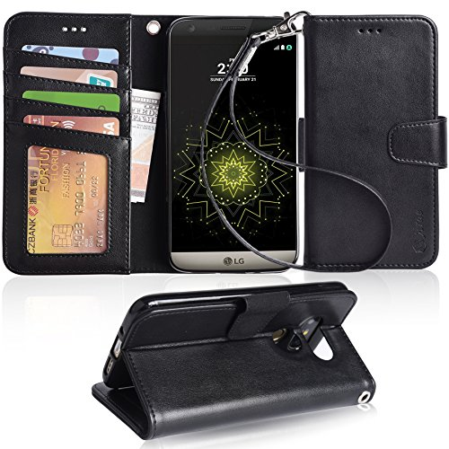 LG G5 Case, Arae [Wrist Strap] Flip Folio [Kickstand Feature] PU leather wallet case with ID&Credit Card Pockets For LG G5 (Black) by Arae