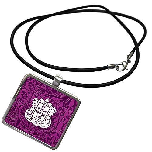 (3dRose Russ Billington Floral Sentiments - Be Happy Youre You- Lavender Blue Floral Chintz Design- not Embossed - Necklace with Rectangle Pendant (ncl_311184_1))