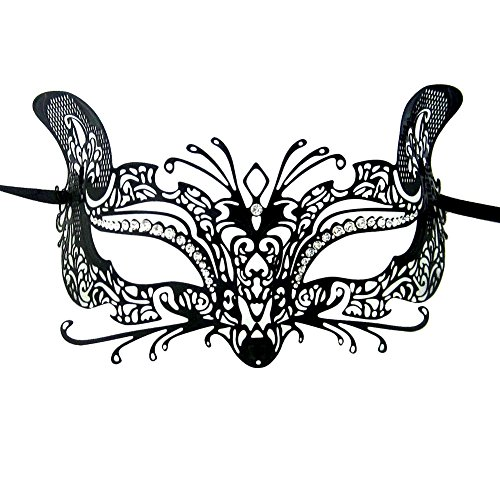 [Xvevina Quality Venetian Cat Metal Laser Cut Masks Masquerade Mask For Women] (Labor Day Parade Costumes For Sale)