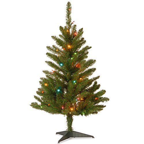 Pre Lit Christmas Trees Amazon - National Tree 3 Foot Kingswood Fir Wrapped Pencil Tree with 50 Multicolor Lights (KW7-313-30)