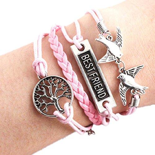 Susenstone®Handmade Vintage Tree Best Friend Pigeon Multilayer Wristband Bracelet